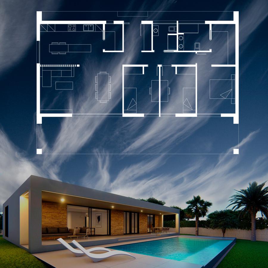 Casa modular moderna con terraza